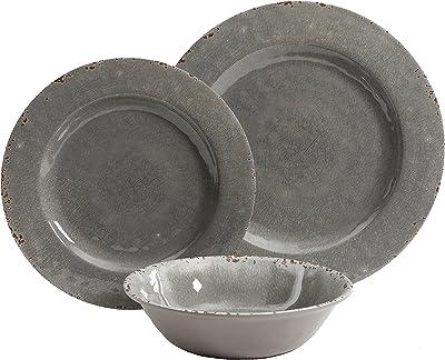 Gibson Studio Mauna 12 Piece Heavy Weight Melamine Dinnerware Set Grey Rustic Kitchen Dining