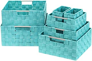 Sorbus Storage Box Woven Basket Bin Container Tote Cube Organizer Set Stackable Storage Basket Woven Strap Shelf Organizer Built-in Carry Handles (7 Piece - Aqua)