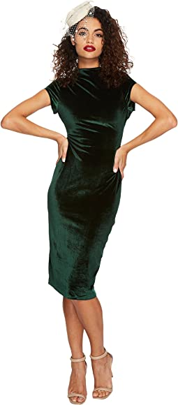 Unique Vintage - Velvet Holly Wiggle Dress