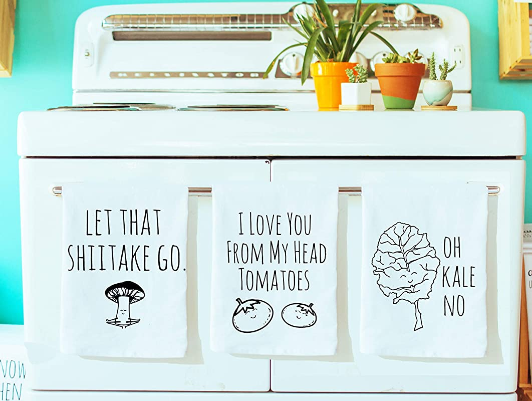 Funny Dish Towels Set Of 3 Funny Kitchen Towels Shiitake Tomatoes Kale