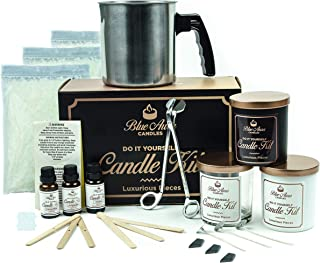 Blue Aurra DIY Candle Making Kit and Supplies– Scented Soy Candle Starter Kit with Fragrance Scents – Complete Candle Making kit for Beginners - 3 Unique Candles with Dye – Crafting Kit for Adults