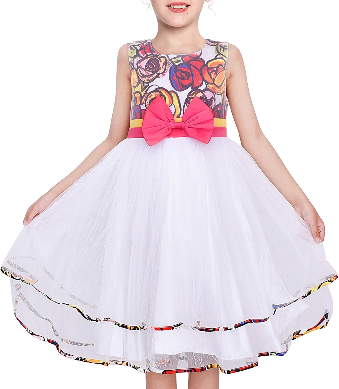Sunny Fashion Girls Dress Bohemian Print Tulle Tiered Layer White Wedding