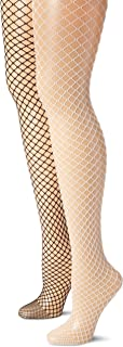 MUSIC LEGS Women's 2 Pack Spandex Diamond Net Plus Size Pantyhose