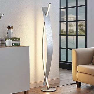 LED Lampadaire 'Marija' à intensité variable (Moderne) en Argent en Métal e. a. pour Salon & Salle à manger (A) de Lucande...