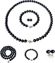 Weishu 925 Sterling Silver Tahitian Culture Freshwater Cultured Pearl Pendant Necklace Black Pearl Pendant Necklace 9-10 mm Round Sterling Silver Jewelry Female Models 18 Chain