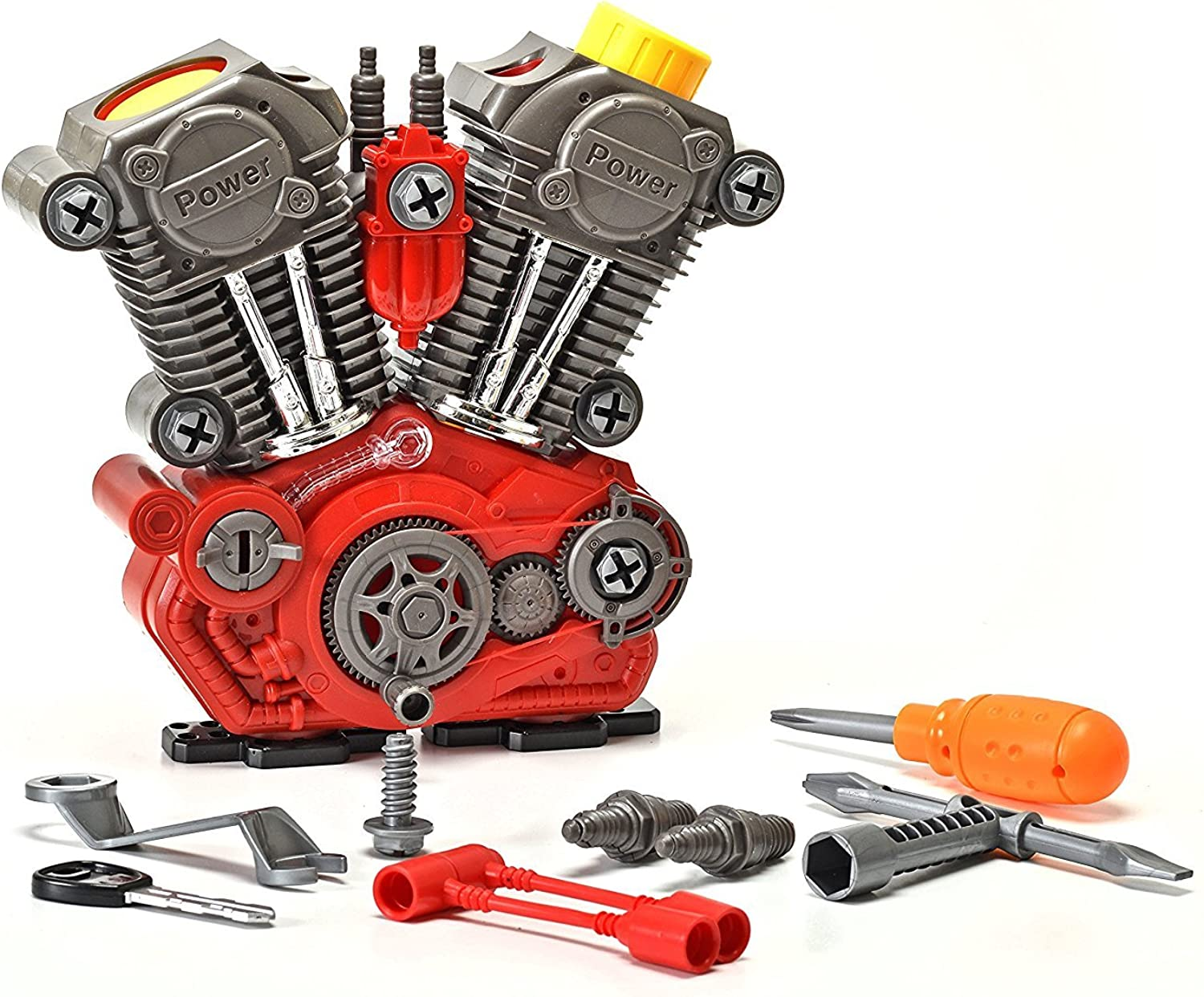 King of Toys Educational BuildYourOwn Engine Over 25 Piece Play Set Kit with Light's & Sounds (Build & ReBuild) Special Kid's Safe Storage Bag to Predect from Loosing Pieces Included.