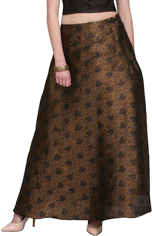 Indian Handicrfats Export Women's Poly Brocade Printed Long Skirt (SKT1378_Black_Freesize)