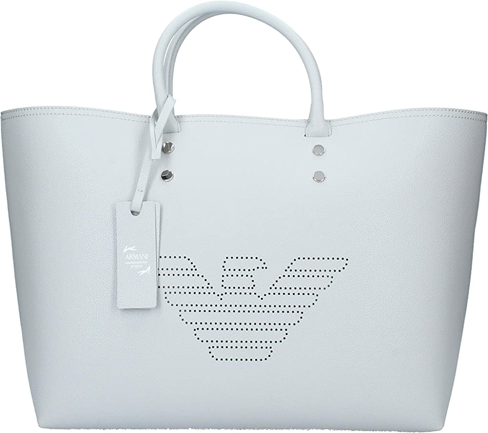 Emporio armani perforated logo, borsa a mano per donna, in pelle