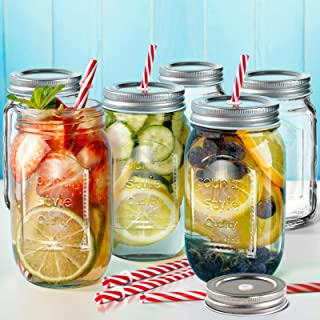 Mason Jars Set of 6 with Lids & Straws 16 oz Wide Mouth Glass Drinking Jars Send 3 Non-Pores Covers Kitchen Glass Jars Mug...