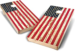 Backyard Champs 2' x 4' Direct Print Tournament Approved Wood Cornhole Set (8 Bags Included) - Stars and Stripes Design
