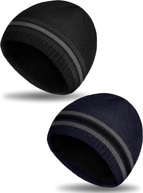 Geyoga 2 Pieces Winter Beanie Knit Hat Warm Soft Beanie Cap Fleece Lined Ski Skull Cap for Women Men (Navy Blue, Black)