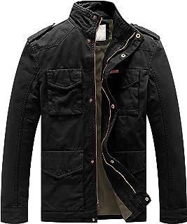 WenVen Men's Outdoor Outerwear Jacket Casual Cotton Coat Lightweight Spring Jacket Classic Full-Zip Jackets