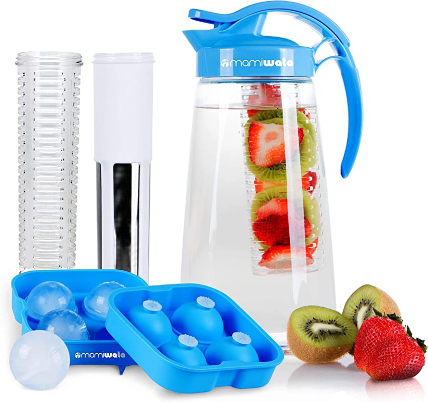 Fruit Tea Infusion Water Pitcher The PERFECT Birthday Gift Free Ice Ball Maker Free Infused Water Recipe Booklet Includes Shatterproof Jug Fruit Infuser And Tea Infuser