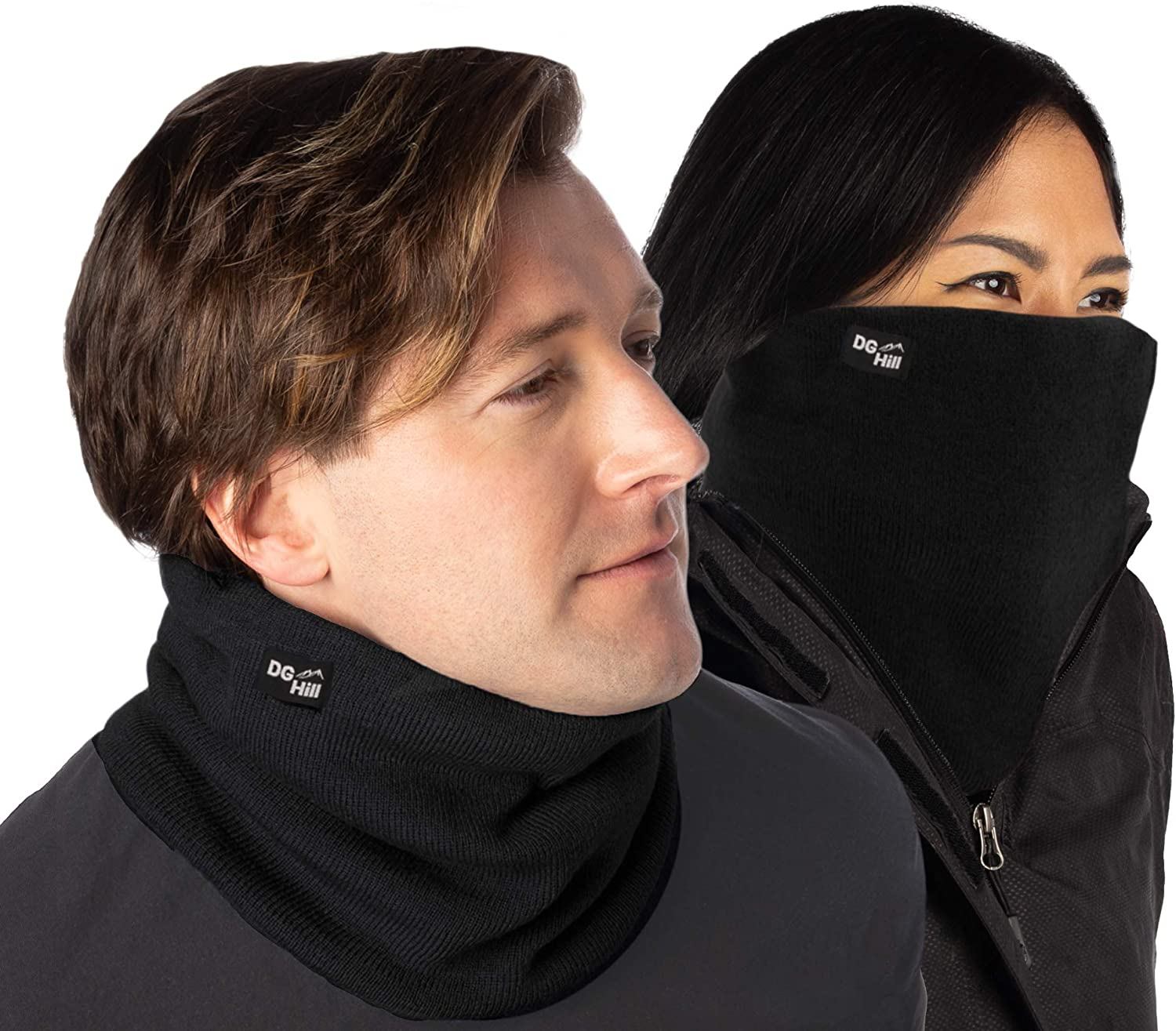 DG Hill (2 Pack) Thick Heat Trapping Thermal Neck Warmers, Winter Neck Gaiter Set Fleece Lined