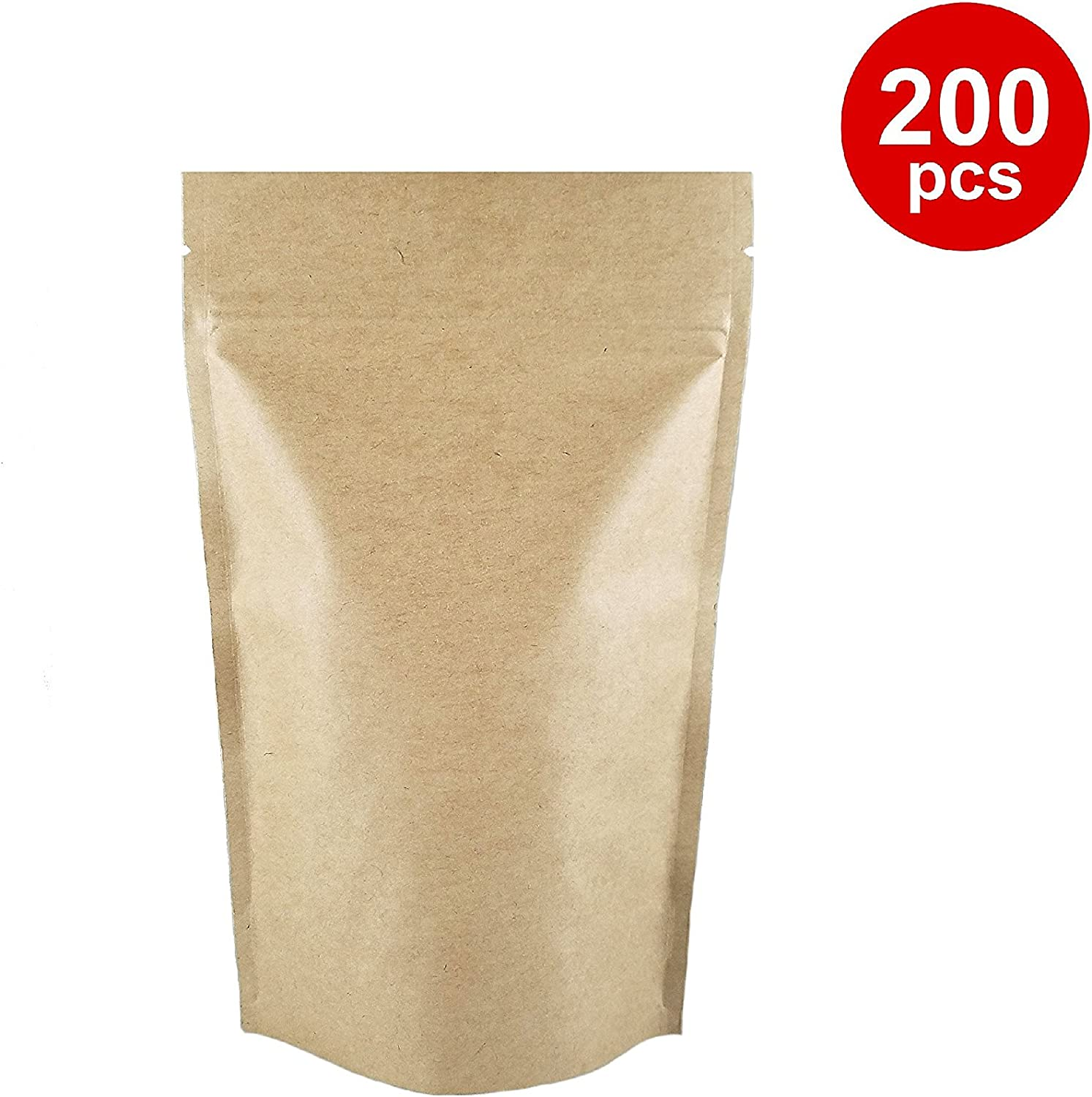 Korpack Kraft Stand Up Pouch with Zipper 5 X 8 X 2.5 inches (4oz) 200 pcs
