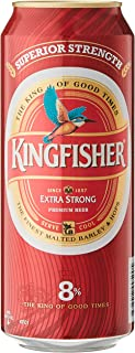 Kingfisher Premium Extra Strong Lager Beer Can, 490 ml (Pack of 24)