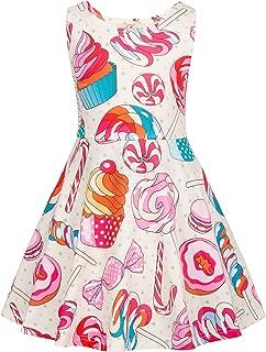 GRACE KARIN Girls Sleeveless Crew Neck Floral A-Line Dress