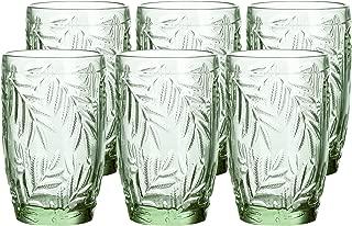 Coloured Glass Goblet Vintage-Inspired Pressed Pattern Water Glasses Set of 6 (Green)