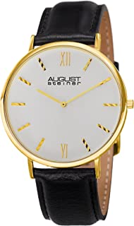 August Steiner Men's Slim Watch - Clear Dial with Striped Indices Hour Markers On Genuine Leather Strap - AS8166