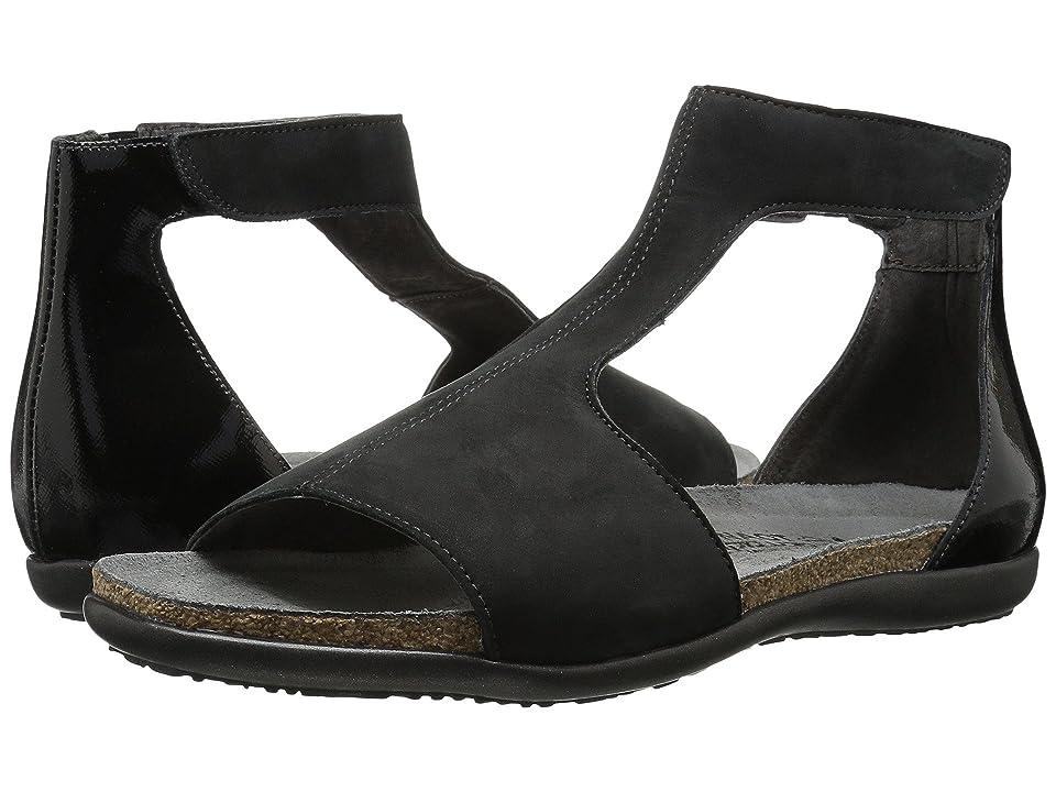 Naot Nala (Black Velvet Nubuck/Black Luster Leather) Women
