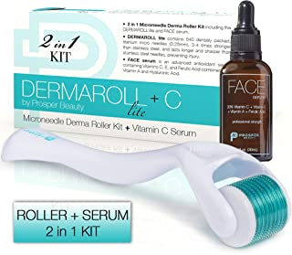 Derma Roller Microneedle + Vitamin C Serum Kit [DERMAROLL lite + C by Prosper Beauty] 540 Titanium Micro Needles 0.25mm Mi...