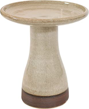 Sunnydaze Outdoor Ceramic Bird Bath - Duo-Tone - High-Fired, Hand-Painted, UV and Frost Resistant Finish - Patio, Lawn, Garde