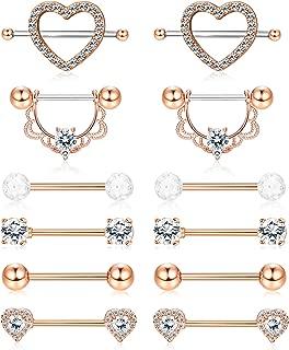 ORAZIO 14G Nipplerings Piercing Women Stainless Steel CZ Nipple Rings Jewelry