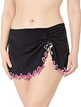 Profile by Gottex Women's Plus-Size Lettuce Ruffle Side Tie Skirted Swimsuit Bottom, Tutti Frutti Black/Pink, 20W