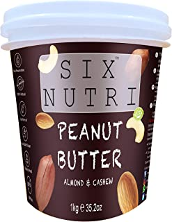 FITJARS Sixnutri Peanut 80% Almond 10% , Cashew 10% High Protein Peanut Butter with Almond and Cashews (1 kg)