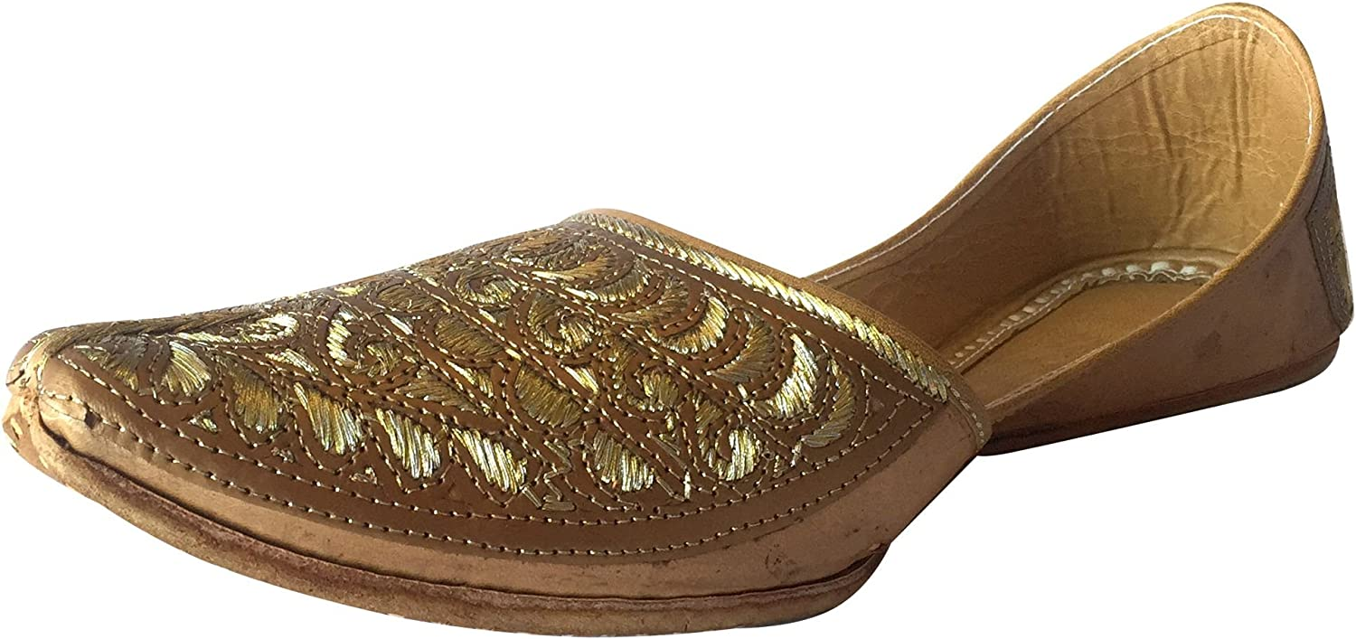 Step n Style Mens Punjabi Jutti Sherwani shoes Copper Cut Work Zari Khussa shoes Ethnic Designer Footwear