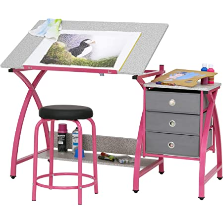 SD STUDIO DESIGNS 2 Piece Comet Craft Table | Angle Adjustable Top and Stool | Pink/Spatter Gray
