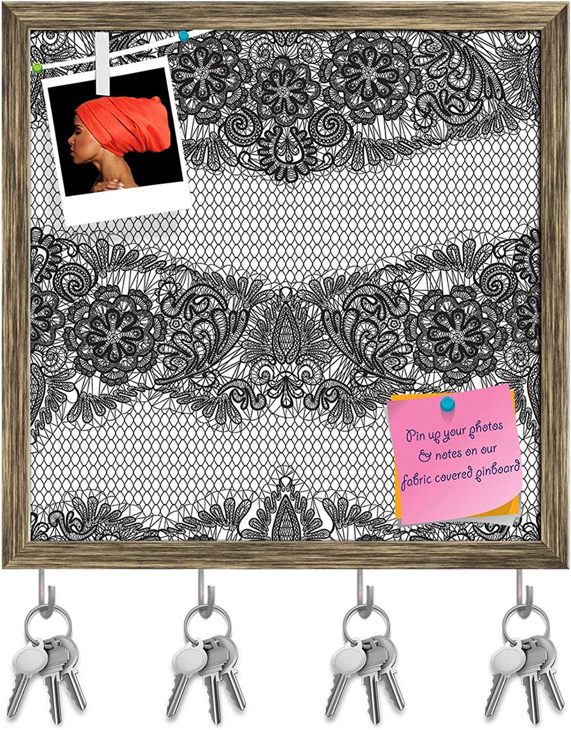 Artzfolio Black Lace Key Holder Hooks   Notice Pin Board   Antique golden Frame 20 X 20Inch