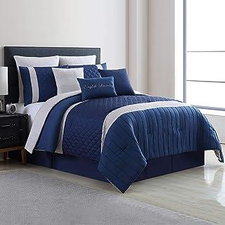 Amrapur Overseas 9-Piece Landon Embellished Comforter Set, King, Blue/Navy