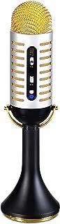 FAO SCHWARZ میکروفون موسیقی کارائوکه w / ساخته شده در اسپیکر دستی قابل حمل برای احزاب، بلوتوث و گوشی های هوشمند سازگار، Vintage 20s سبک نوار، USB، جک AUX کابل و هدفون، قابل شارژ