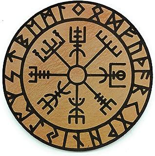 Parche de cuero vegvisir con runas para colocar en Chalecos Lastrados, Mochilas, Gorras, o cualquier superficie con Velcro...