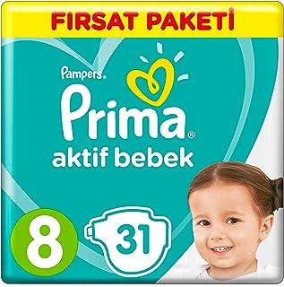 Prima Bebek Bezi Aktif Bebek,8 Beden, 31 Adet, Fırsat Paketi