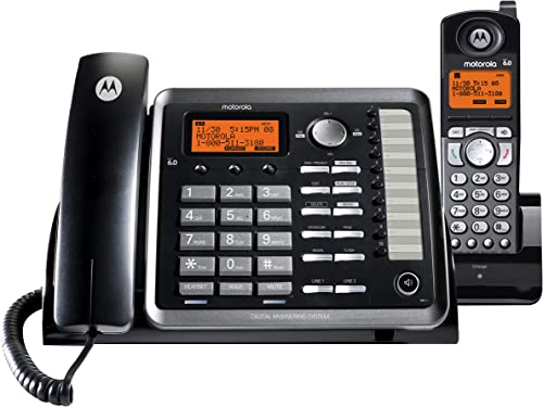 lowest Motorola ML25255 DECT 6.0 Expandable Corded/Cordless 2-line Business Phone with Caller ID sale & Answering Machine, Black, discount 1 Handset sale