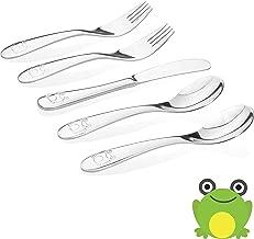 Kiddobloom Kids Stainless Steel Utensil Set, Frog Model, Set of 5 (2 Kids Spoons, 2 Kids Forks, and 1 Kids Butter Knife) Safe Flatware for Toddler and Kids. Beautiful Keepsake.