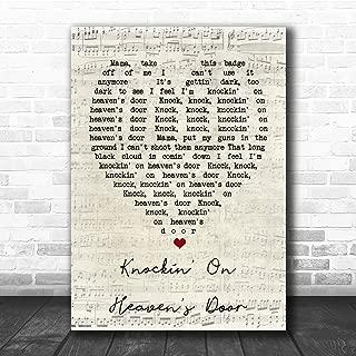 Knockin' On Heaven's Door Script Heart Quote Song Lyric Music Poster Gift Present Art Print