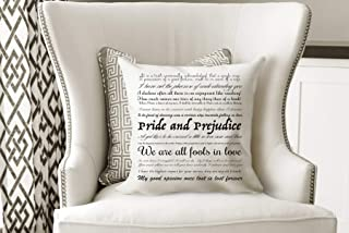Pride and Prejudice Decorative Pillow Book Quote Pillow Jane Austen Cushion Bed Pillow for Bedroom Decor
