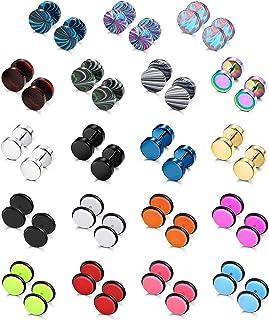 SAILIMUE 19 Pairs Stainless Steel Men Earrings Studs Ear Piercing Plugs Tunnel ScrewDesign Fake Gauges Earrings FlatBack...