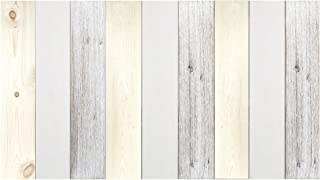 Decowood - Cabecero Vintage para Cama de Dormitorio, Madera de Pino, Combinado Blanco y Natural - 180 x 80 cm