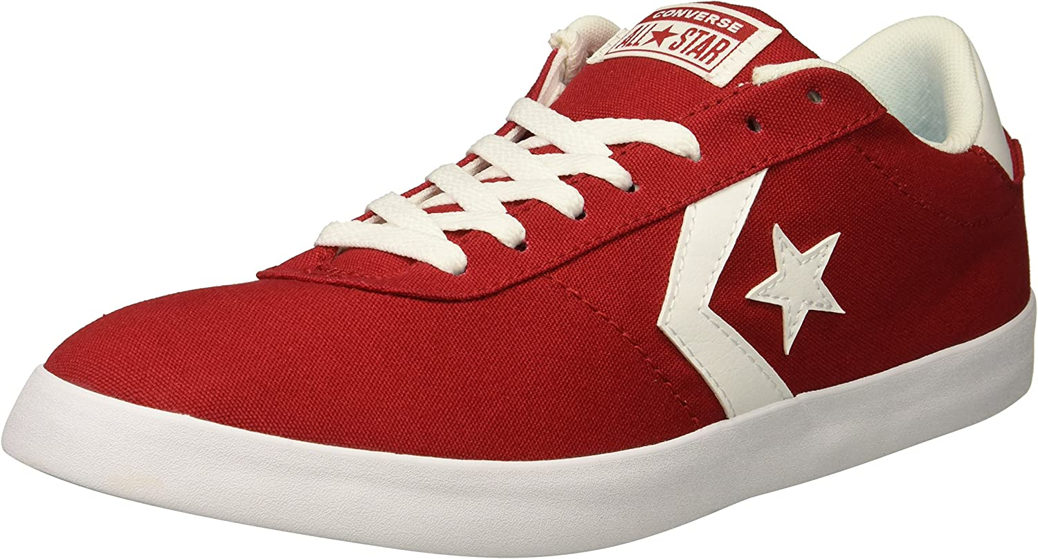 Converse Men's Point Star Canvas Low Top Sneaker Gym red White, 6.5 M US