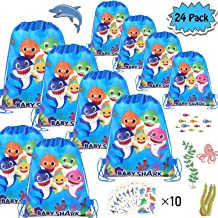POKONBOY Shark Party Favor Bags(24 pack) for Shark Party Supplies and Shark Birthday Decorations, Shark Drawstring Backpacks, Shark Birthday Party Gift Bags for Boys and Girls Ocean Party & 10 Sheets of Tattoos