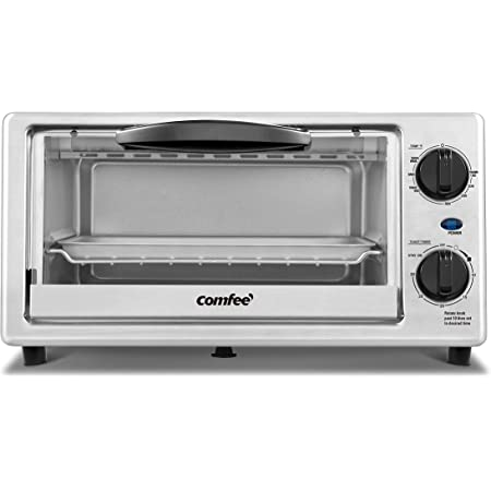 COMFEE Toaster Oven Countertop, 4-Slice, Compact Size, Easy to Control with Timer-Bake-Broil-Toast Setting, 1000W, Stainless Steel, CFO-BC10(SS)