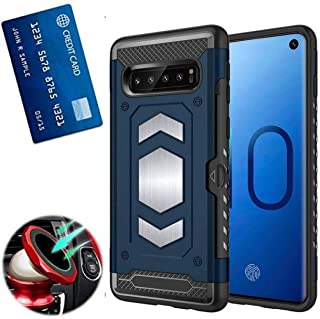 S10 Plus Case with card holder : S 10+ Phone Cases with metal back for magnetic car mount : Samsung Galaxy S10 Plus case with Card Slot Wallet full protection, shock absorption armor (BLUE, S10 PLUS)