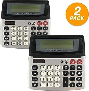 Emraw 12-Digit Dual Power Desktop Calculator with Adjustable Display Desk Calculators with Large LCD Display and Computer Keys Standard Function Scientific Handheld Office Calculator (Pack of 2)