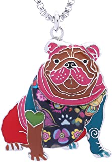 English Bulldog Necklace Gifts for Women Dog Lovers Novelty Pendant can be Used as Keychain