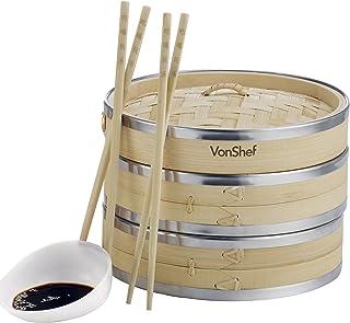 VonShef Vaporera de Bambú 20cm 2 Pisos con Banda de Acero Inoxidable - incluye 2 Pares de Palillos y 50 Papeles de Cera