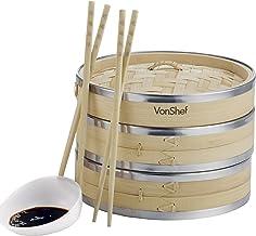 VonShef Appareil à Vapeur Bamboo Premium 20cm 2 Niveaux avec Cerclage en Acier Inoxydable - inclus 2 paires de Baguettes GRATUITES & 50 Papiers de Cire GRATUITS